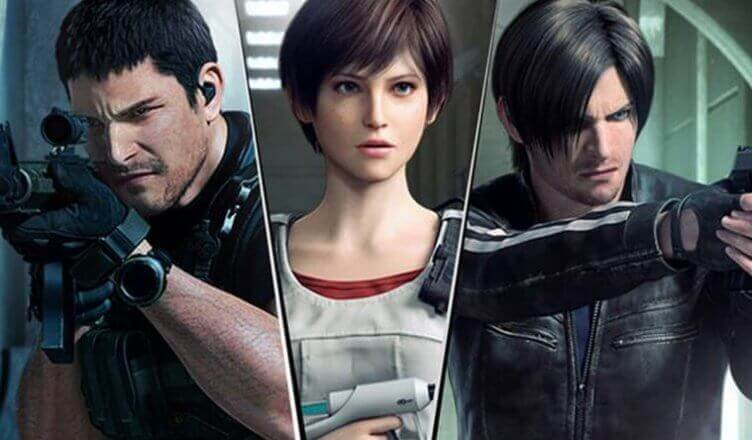 Chris, Rebecca e Leon no último filme em CGI lançado.