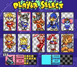 Vários personagens fofinhos para escolher em SD F1 Grand Prix , meu favorito é esse Lobo Badass!