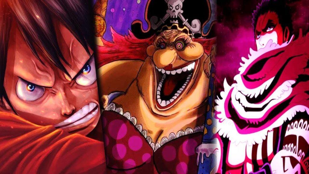 Luffy, Big Mon e Katakuri, personagens de Whole Cake.