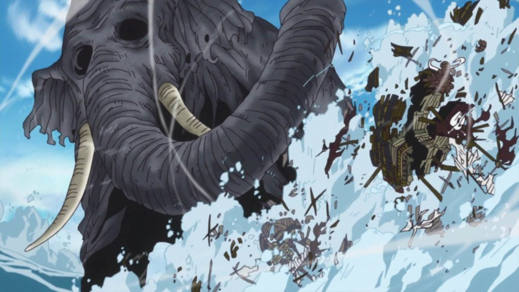 O elefante Zunisha, que carrega em suas costas a ilha de Zou
