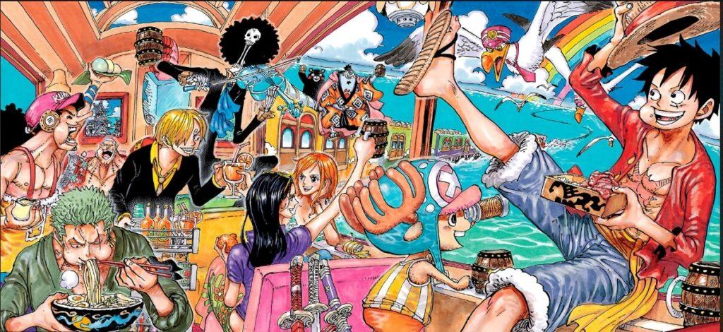 Capa colorida de One Piece 992 mostrando todos Mugiwaras