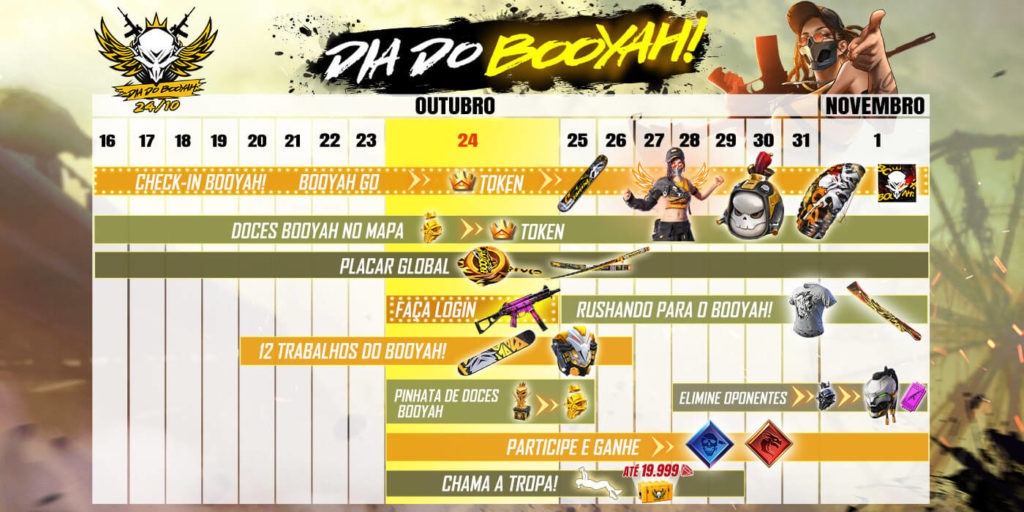 Calendário do evento Dia do Booyah!