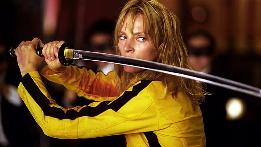 Foto da Uma Thurman como Beatrix Kiddo, no filme Kill Bill