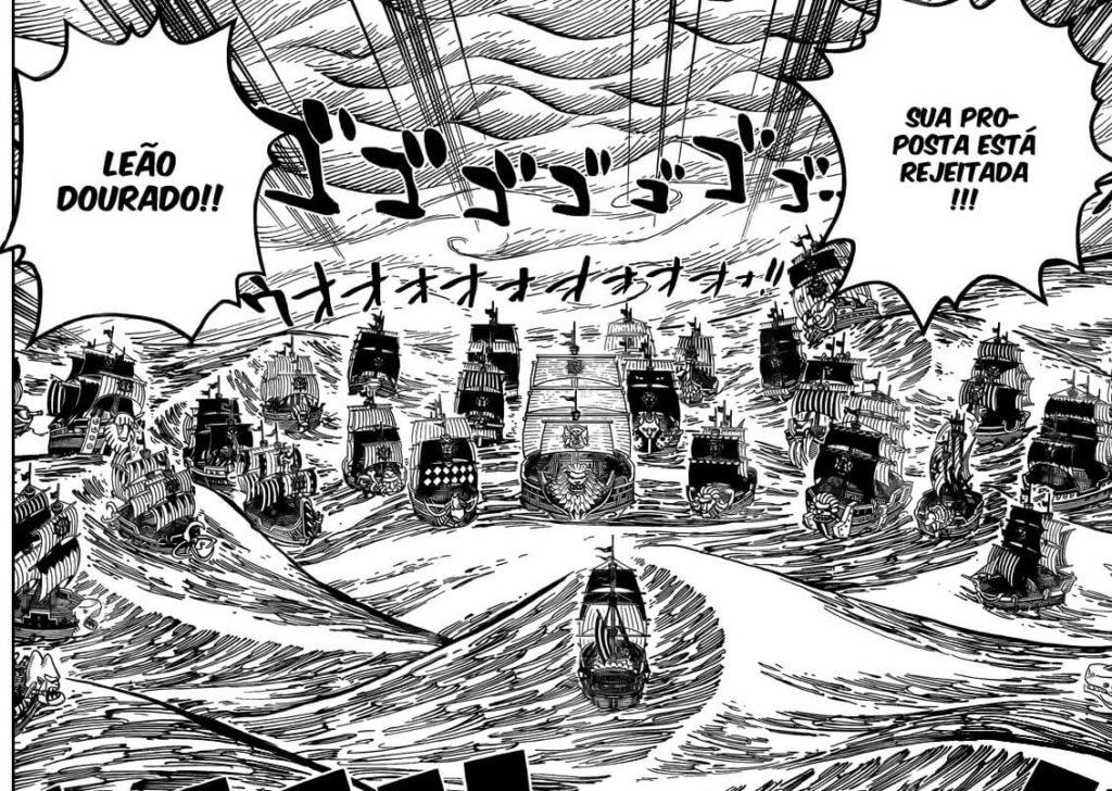 Barco de Roger x Frota de Shiki no capítulo 0.