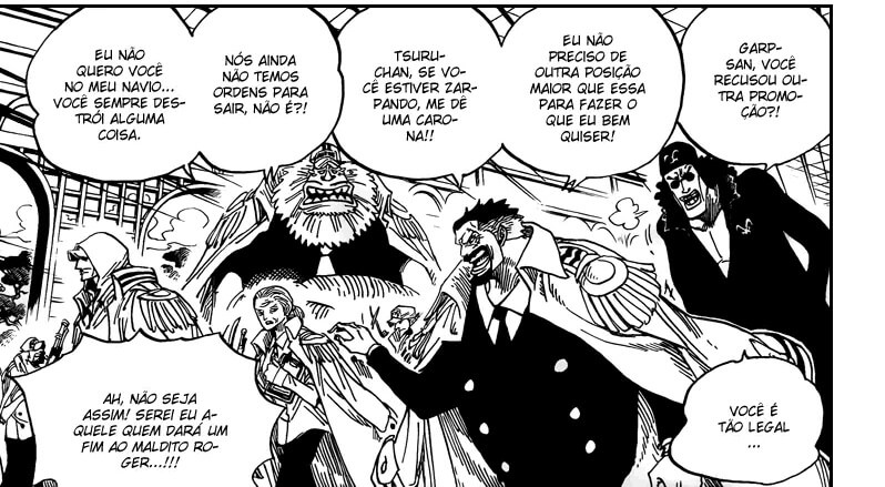 Garp, Aokiji e outros marinheiros famosos no Capítulo 0 de One Piece.