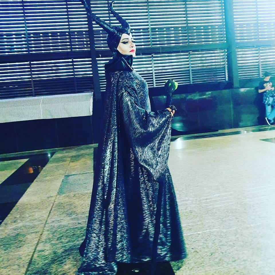 Maria Helena com o cosplay de Malévola